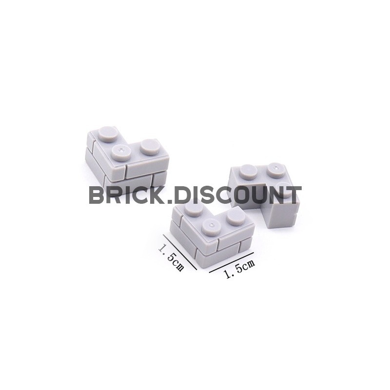 JX019-2 Elephant Строительный блок угловой 1 х 3 светло-серый - 100 шт.