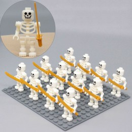 AX1 LOJO Минифигурки белых скелетов - 12 шт.