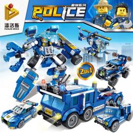 681002 Panlos Brick Полицейская серия: патрульный самолет, патрульный вездеход, Hummer и полицейский автомобиль