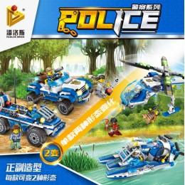 681003 Panlos Brick Полицейская серия: грузовой вертолет, судно на воздушной подушке, вездеход и внедорожник